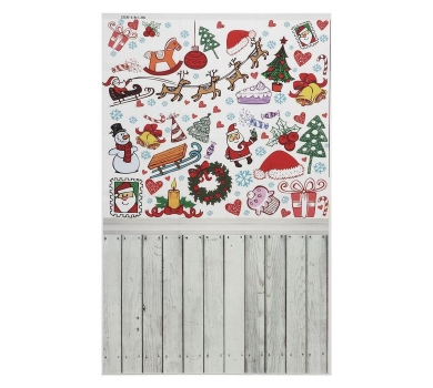 Фотофон виниловый стена+пол Новый год и доски, 3563200