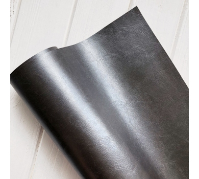 Кожзам (экокожа) на полиуретановой основе глянцевый черный с тиснением, арт. SC411213
