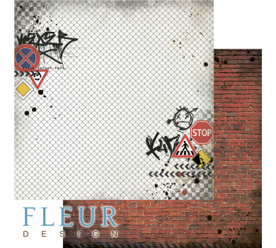 Лист бумаги для скрапбукинга Кирпичная стена, коллекция Город контрастов, FD1007904