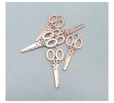 Подвеска металлическая Ножницы серебро арт. KA10122  3,2*1,9 см