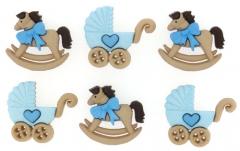 Набор декоративных пуговиц от Dress It Up, Коляски-лошадки в голубом, 5823