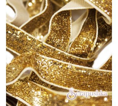 Лента бархатная с глиттером золотая,  KA109001