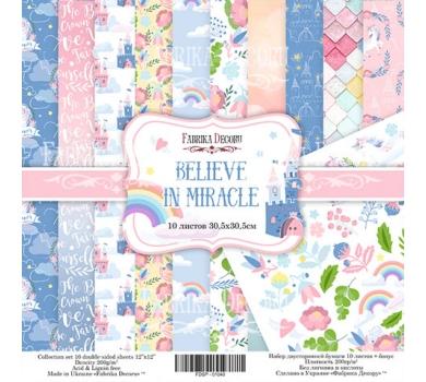 Набор двусторонней бумаги Believe in miracle, 30х30 см, 200 г/м, FDSP-01042