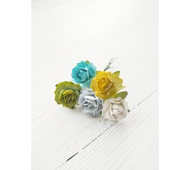 Розы кудрявые, микс холодных оттенков, KA481113