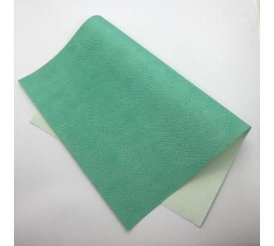 Кожзам (экокожа) на полиуретановой основе с тиснением под питона, цвет мятный, арт. SC420058