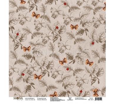 Лист бумаги для скрапбукинга Зарисовки листьев, коллекция Межсезонье, 72911