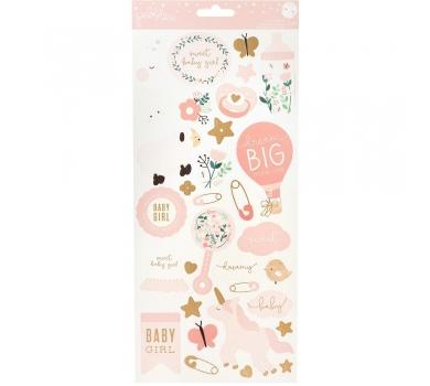 Набор стикеров с золотым фольгированием, коллекция Night Night Baby Girl, 57 шт, 732745