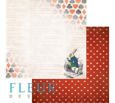 Лист бумаги для скрапбукинга Кролик, коллекция В стране чудес, арт. FD1005202