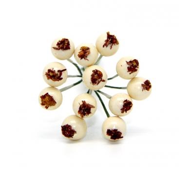 Декоративный букетик ягоды, цвет кремовый, DKB193G