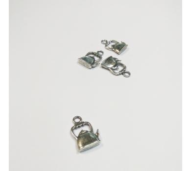 Подвеска металлическая Чайник, цвет-античное серебро, размер 22х14х4мм, 1  шт., KALP140-0529