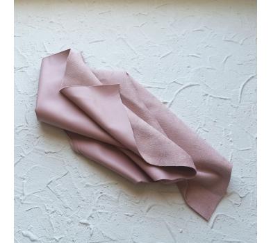 Искусственная замша на коже (кожзам), цвет пудровый, арт. 411632