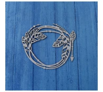 Чипборд Бохо рамка, стрелочки, перья, 93х88 мм, 0565