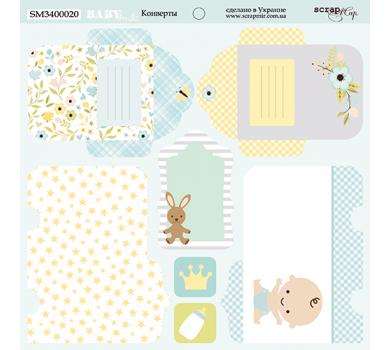 Лист двусторонней бумаги Конверты, коллекция Smile Baby, 190 гр/м2, 20х20см, SM3400020