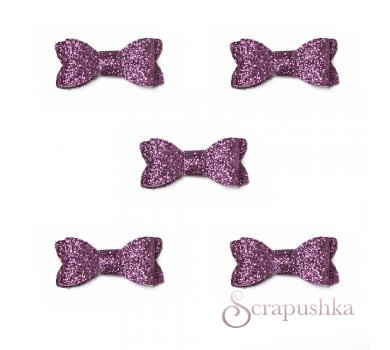Набор бантиков из кожзама, цвет розовый с блестками, SC700034
