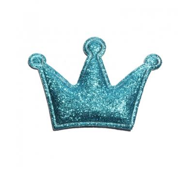 Патч (нашивка) глиттерный Голубая корона, арт. 185524