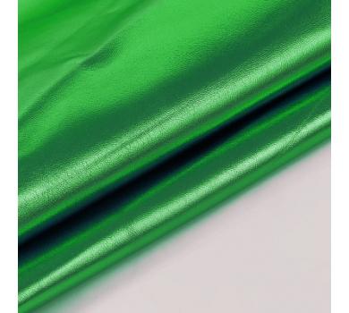 Кожзам с эффектом металлик, цвет зеленый, 50х34см, 1172110