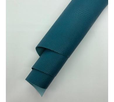 Кожзам (экокожа) на полиуретановой основе с тиснением под питона, цвет морской волны, арт. SC420045