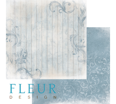 Лист бумаги для скрапбукинга Изморозь на голубом, коллекция Шале, арт. FD1003006