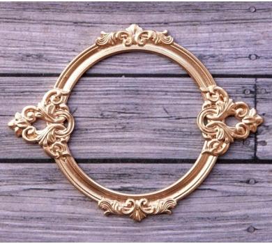 Металлическая рамка для записей Барокко круглая, цвет Золото, ARTPU0132