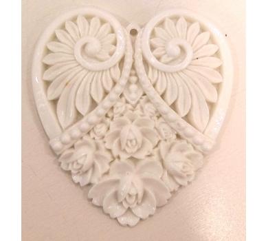 Акриловое украшение сердце, цвет белый, ACR17-02