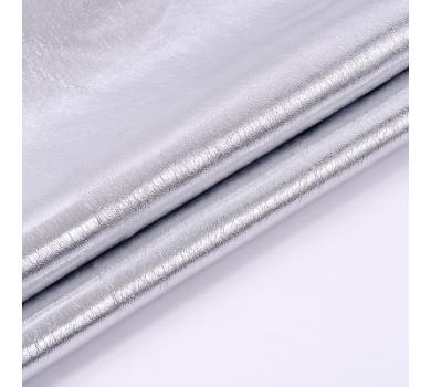Кожзам с эффектом металлик, цвет серебро, KA420401