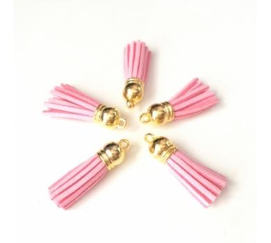 Декоративная кисточка из искусственной замши, розовый с золотом, арт. KA105501