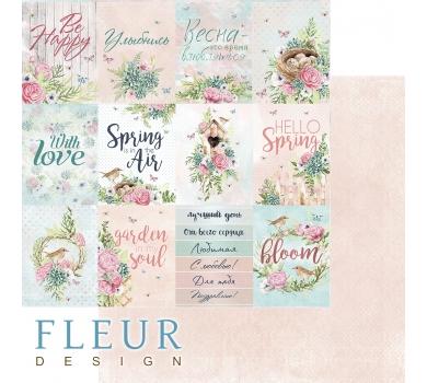 Лист бумаги для скрапбукинга Карточки, коллекция Дыхание весны, FD1007812