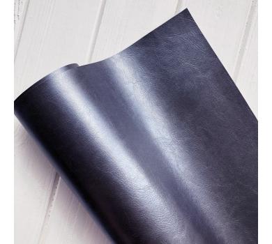 Кожзам (экокожа) на полиуретановой основе глянцевый темно-синий с тиснением, арт. SC421212