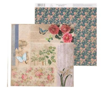 """Бумага для скрапбукинга La Botanique """"Цветочные мотивы"""", 30.5 х 30.5 см, 180 гр/м2, 1482778"""