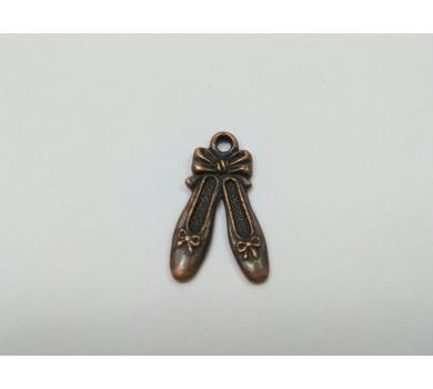 Подвеска металлическая туфельки, цвет - медь, размер 21х12х1.5мм, KALP142-021