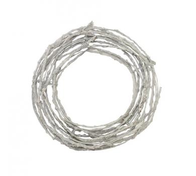 Декоративный венок круглый Белыый, ротанг, диаметр 25см, SCB370207
