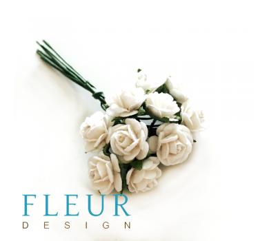 Мини-розочки Белые, размер цветка 1 см, 10 шт/упаковка FD3072015
