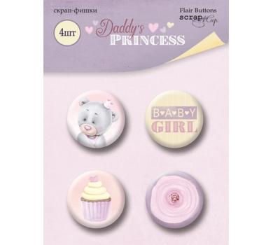 Набор фишек из металла Daddy's Princess, 4 штуки, диаметр 25 мм, SM4000017