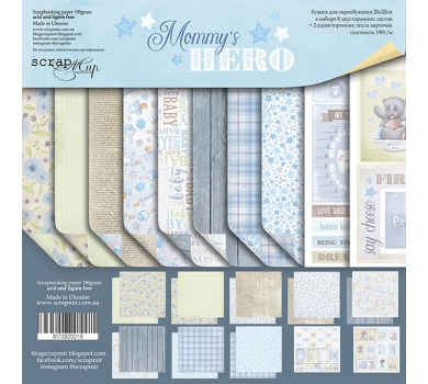 Набор бумаги для скрапбукинга Mommy's Hero, 20х20 см, 190 гр/м, 10 листов, SM3900016