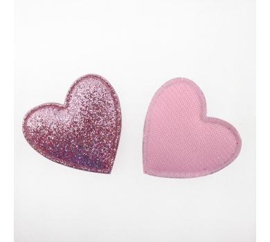 Патч (нашивка) с глиттером Розовое сердце, 1 шт., арт. 194806