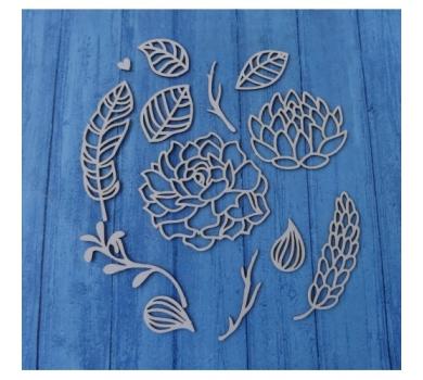 Чипборд Бохо сет цветы, веточки, листочки, 110х160 мм, 0542