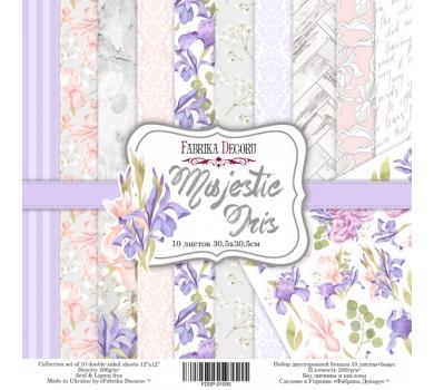 Набор двусторонней бумаги Majestic Iris, 30х30 см, 200 г/м, FDSP-01055