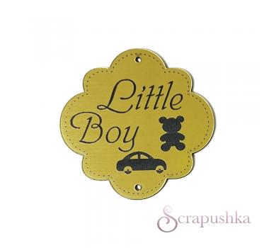 Зеркальная бирка круглая Little Boy, цвет золото, KA111433