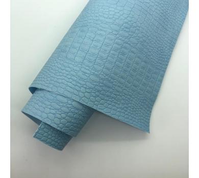 Кожзам (экокожа) на полиуретановой основе с тиснением под крокодила, цвет голубой, арт. SC420064