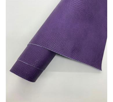 Кожзам (экокожа) на полиуретановой основе с тиснением под питона, цвет фиалка, арт. SC420046