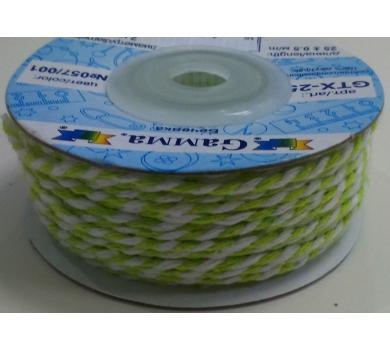 Шнур бечевка 2мм салатово-белый   GTX-25-057/001