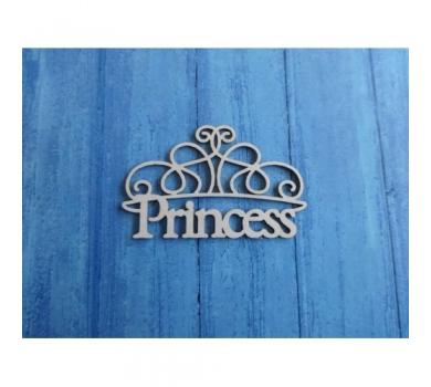 Чипборд надпись Princess, 65х40 мм, 0168