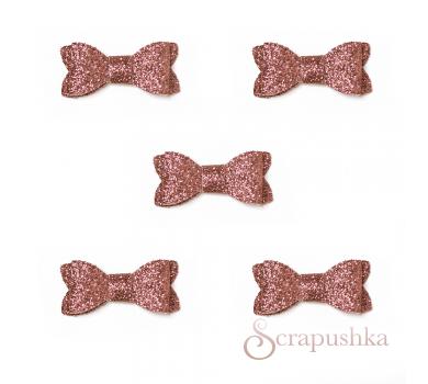 Набор бантиков из кожзама, цвет розовый с блестками, SC700035