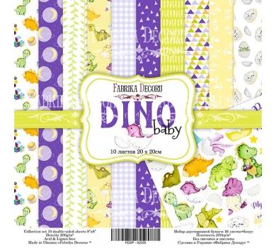 Набор двусторонней бумаги Dino baby, 20х20 см, 200 г/м, FDSP-02038