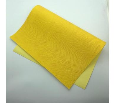 Кожзам (экокожа) на полиуретановой основе с тиснением под питона, цвет желтый, арт. SC420056