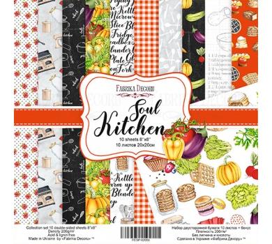 Набор двусторонней бумаги Soul Kitchen, 20х20 см, 200 г/м, FDSP-02056