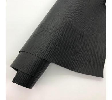 Кожзам (экокожа) на полиуретановой основе с тиснением под ящерицу, цвет черный, арт. SC420065