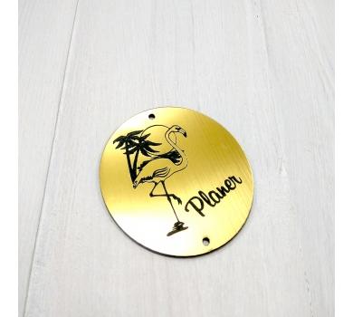Зеркальная бирка с фламинго Planer, 60х53 мм, цвет золото, арт. 142202