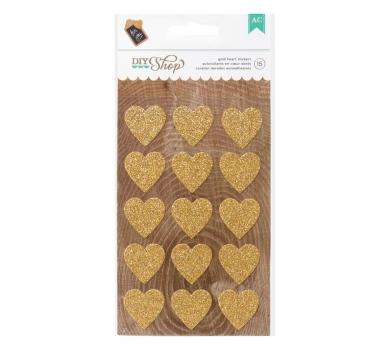 Набор стикеров Gold Hearts с золотым глиттером, 369051