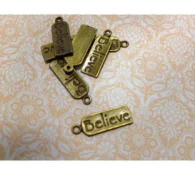 Подвеска металлическая Бирочка believe, цвет бронза, 0,6*2 см, KA10056